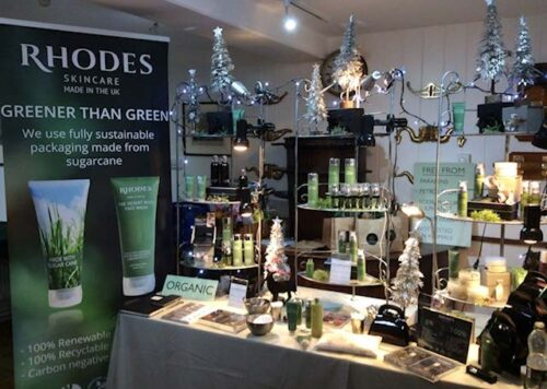Rhodes Skincare product display